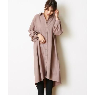 ボリューム袖が可愛い♪ライスコールシャツワンピース (ワンピース)Dress