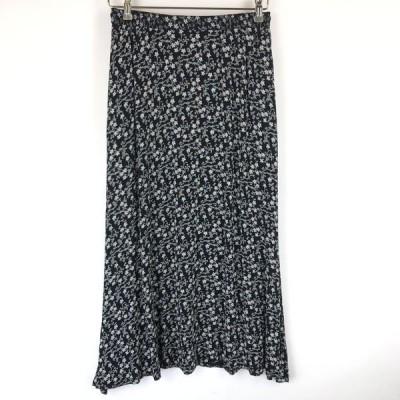 Liz claiborne 花柄スカート Aライン ジャージ素材 ウエストゴム 裏地無し 80年代 ブラック系 レディースM