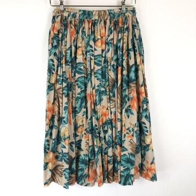 【古着】 花柄スカート ギャザースカート ヴィンテージ ベージュ系 レディースM 【中古】 n015686