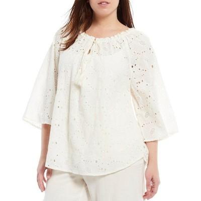 ルビーロード レディース シャツ トップス Plus Size Eyelet Gathered Notch V-Neck Flowy-Sleeve Cotton Top Linen White