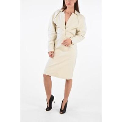 BOTTEGA VENETA/ボッテガ ヴェネタ Beige レディース Long Sleeve TOILE Midi Dress with Back Porthole dk