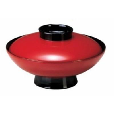 煮物椀 6寸 小槌椀 朱ツバ黒 耐熱ABS樹脂 食器洗浄機対応 f6-258-1
