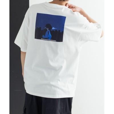 (Rocky Monroe/ロッキーモンロー)プリントTシャツ メンズ レディース 半袖 イラスト グラフィック カジュアル バックプリント ストリート ビッグシルエット ドロップショルダー プレゼント お/ユニセックス ホワイト