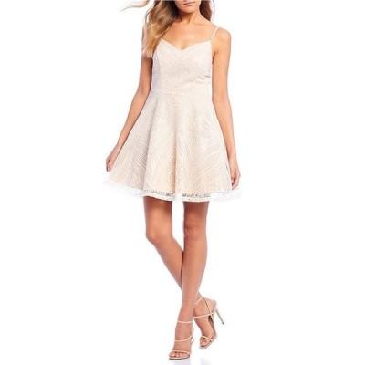 シティヴァイブ レディース ワンピース トップス Spaghetti Strap Sequin Pattern Fit & Flare Dress