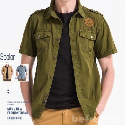 ワークシャツ メンズ 半袖 ミリタリー系 開襟 刺繍入り ワッペン付き カジュアルシャツ 新作 綿100%
