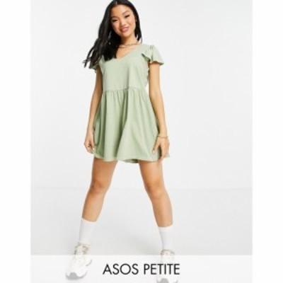 エイソス ASOS Petite レディース オールインワン ショート ワンピース・ドレス ASOS DESIGN petite frill sleeve smock playsuit in kha