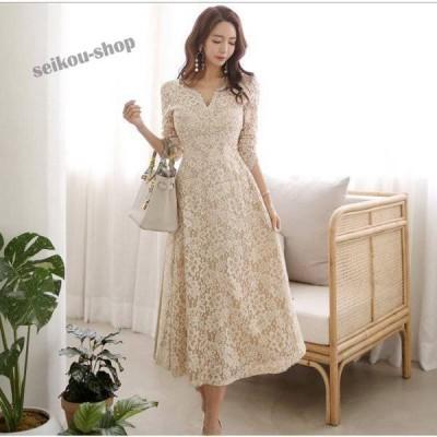 パーティードレス 袖あり 韓国風 結婚式 ドレス レース ワンピース ロング丈 フォーマルドレス 上品 大きいサイズ お呼ばれ 二次会 同窓会 服