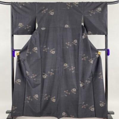 紬 優品 椿 灰紫 袷 身丈164.5cm 裄丈67cm M 正絹 中古
