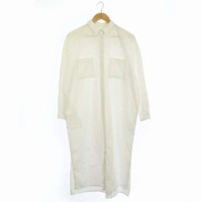 【中古】アーチザ ARCH THE 20SS ドゥーズィエムクラス取扱い ロングシャツ シャツワンピ 長袖 38 白 ホワイト