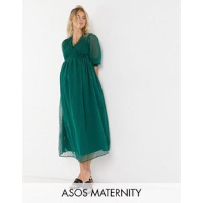 エイソス レディース ワンピース トップス ASOS DESIGN Maternity midi smock dress with shirred cuffs in dobby in forest green Fores