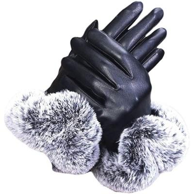 morytrade 手袋 レディース てぶくろ スマホ 対応 グローブ 裏起毛 女性 レザー ファー(ブラック, Free Size)
