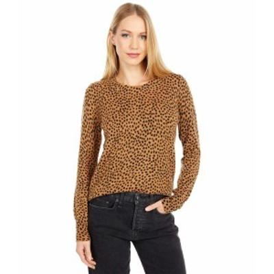ジェイクルー レディース ニット&セーター アウター Wild Cheetah Cashmere Crew Neck Sweater Burnished Timber Black