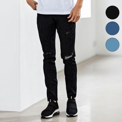 AKM Contemporary エイケイエムコンテンポラリー ダメージ デニム パンツ メンズ ズボン ボトムス リラックス おしゃれ かっこいい ブランド 部屋着 ウェア