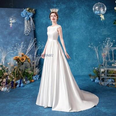 ウェディングドレス Aライン トレーンライン 花嫁 ロングドレス 簡約 可愛い 白ドレス 結婚式 露背 レース 二次会 パーディ- お呼ばれ エレガント 姫系