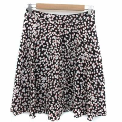 【中古】エマジェイムス スカート フレア ひざ丈 総柄 マルチカラー 70 ブラック 黒 ホワイト 白 ピンク レディース