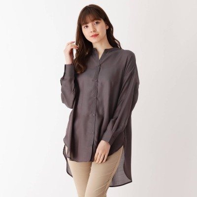 シューラルー SHOO-LA-RUE シンプルバンドカラーシャツ (チャコールグレー)