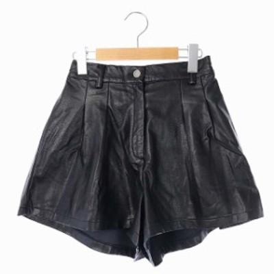 【中古】ミラーナイン MIRROR9 フェイクレザーキュロット パンツ ショート スカート ミニ M 黒 /KN ■OS レディース