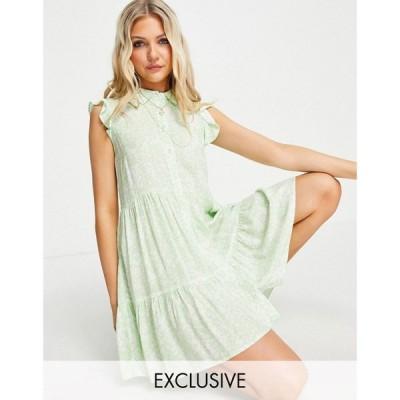 ストラディバリウス Stradivarius レディース ワンピース ノースリーブ シャツワンピース Sleeveless Shirt Dress In Green Ditsy Floral グリーン