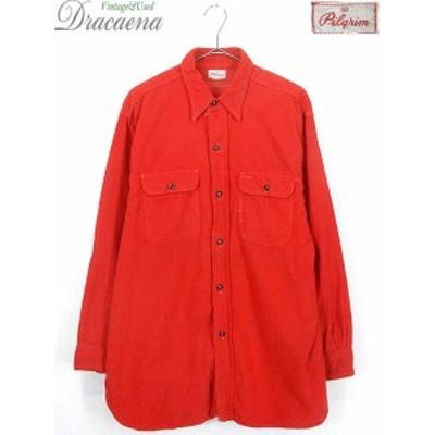 古着 シャツ 40s Pilgrim マチ付き ソリッド 100% コットン フランネル シャツ ネルシャツ XL位 古着