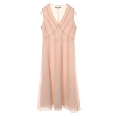 UNITED ARROWS ビーズ装飾 シルク ドレス ワンピース 38 ピンクベージュ ユナイテッドアローズ