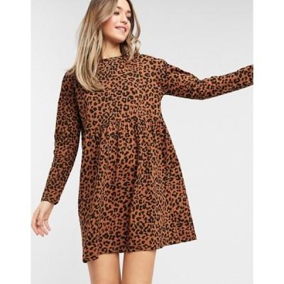 エイソス レディース ワンピース トップス ASOS DESIGN smock mini dress with long sleeves in leopard print