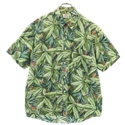 ボタニカル 半袖 シャツ グリーン系 UpBlance アロハシャツ メンズ 古着 200519 メール便可 wg9-0712