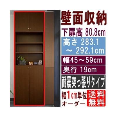 スリム壁面DVD棚 壁収納 高さ283.1〜292.1cm幅45〜59cm奥行19cm 下扉高さ80.8cm