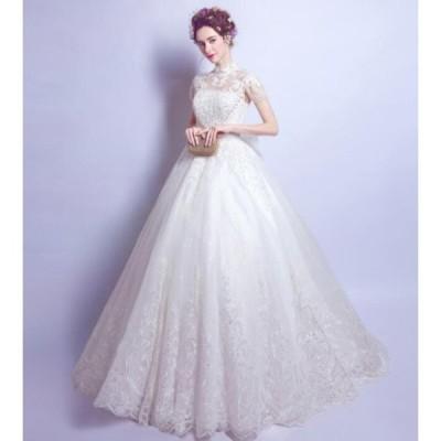 ウエディングドレス 秋 新作品 結婚式 ブライダル Aラインドレス ロングドレス 優雅 華やか補整花柄 花嫁衣装 ハイネック 編み上げ