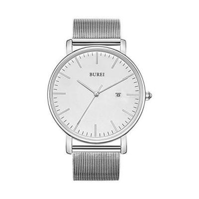 BUREI メンズ ミニマリスト クォーツ 腕時計 ビッグフェイス 日付表示 ステンレススチール メッシュバンド シルバーホワイトシルバー。