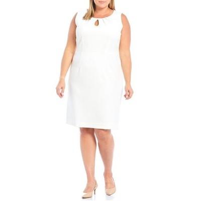 カスパール レディース ワンピース トップス Plus Size Textured Pique Keyhole Pleat Neck Sheath Dress