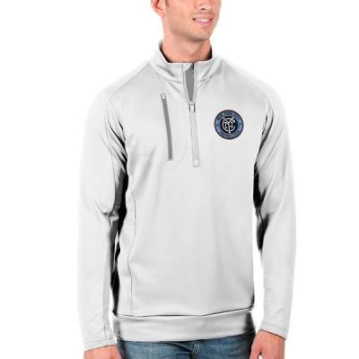 """メンズ ジャケット """"New York City FC"""" Antigua Generation Quarter-Zip Pullover Jacket - White/Silver"""