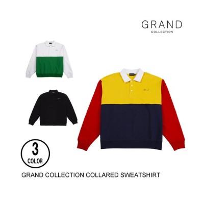 GRAND COLLECTION グランドコレクション COLLARED SWEATSHIRT 3色 M-L トレーナー スウェット 長袖