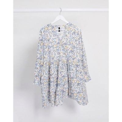 ワイエーエス レディース ワンピース トップス Y.A.S smock dress with long sleeves in white ditsy floral