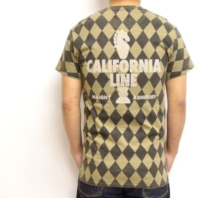 "CALIFORNIA LINE カリフォルニアライン 半袖Tシャツ カーキ色 全6色 クルーネックTee ""チェッカー"""