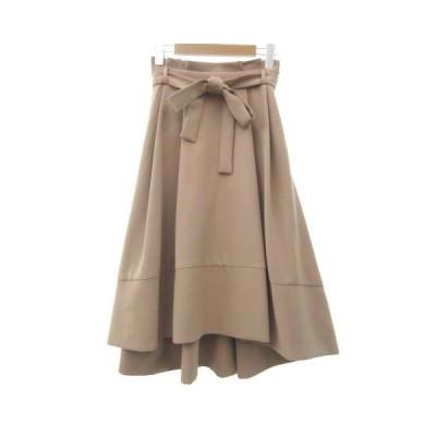 【中古】ラグナムーン LagunaMoon 美品 フレア リボン スカート ロング ヘムライン タック 無地 S ピンク レディース 【ベクトル 古着】