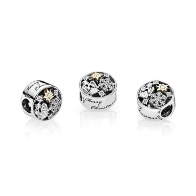 PANDORA Celestial Wonders Charm, Sterling Silver W/ 14K Gold & Clear C