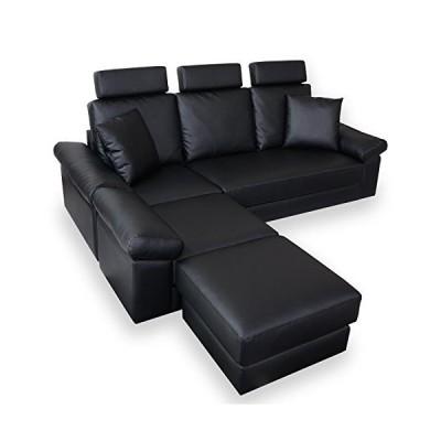 DORIS カウチソファー ソファー 3人掛け 幅200cm クッション付 ヘッドレスト付き ハイバック レザー ブラック フォ
