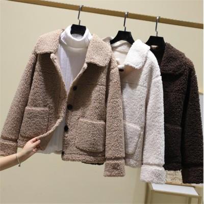 着まわし抜群 気質 OL 韓国ファッション CHIC気質 大人気 単体ボタン 短いスタイル ゆったりする ラペル 快適である オシャレ カジュアル 暖かい 厚手 子羊の毛 コート