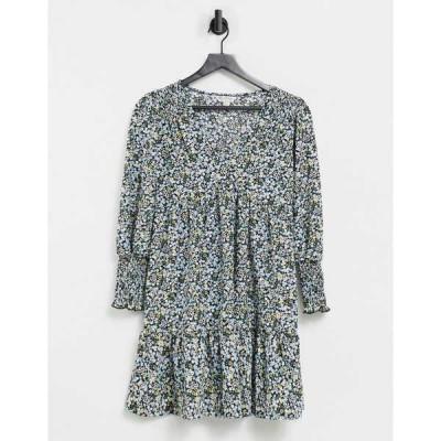 ミスセルフフリッジ レディース ワンピース トップス Miss Selfridge smock dress in black ditsy print Black