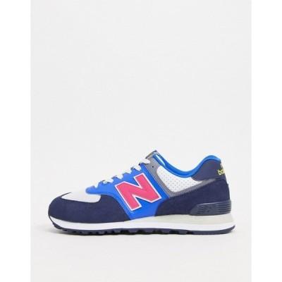 ニューバランス メンズ スニーカー シューズ New Balance 574 sneakers in light blue and navy Aspen