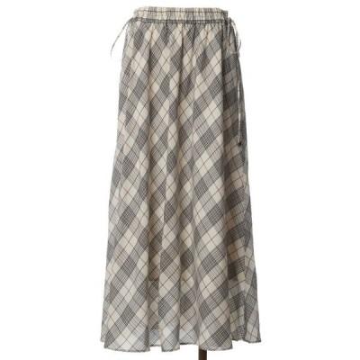 スカート 【WEB限定】チェック柄ロングスカート