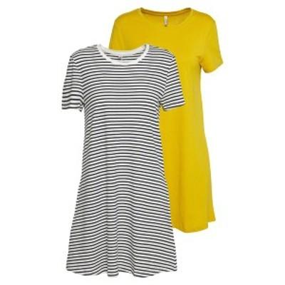 オンリー プティ レディース ワンピース トップス ONLMAY LIFE POCKET DRESS 2 PACK - Jersey dress - golden spice/cloud dancer/night