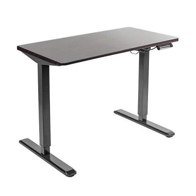 """VIVO Electric Height Adjustable 43"""" x 24"""" Stand Up Desk, Espresso Solid One-Piece Table Top, Black Frame, Standing Workstation with Memo"""