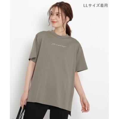 grove/グローブ 洗える/UV/抗菌防臭【SS-3L】ギザコットンモックネックシンプルTシャツ ディープグレー×ロゴ(115) 04(LL)