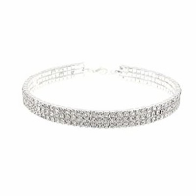 JSEA Round Circle 3 Row Clear Rhinestones Choker Collar Necklace for Women Ladies Jewelry