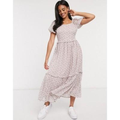 ヤス マキシドレス レディース Y.A.S midaxi dress with tiered skirt and puff sleeves in floral print エイソス ASOS ピンク