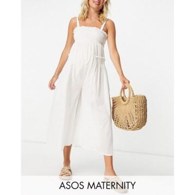 エイソス ASOS Maternity レディース オールインワン ジャンプスーツ マタニティウェア Maternity Shirred Elastic Back Jumpsuit In White ホワイト