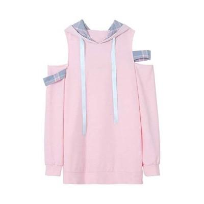 キャンディ少女 レディース パーカー トレーナー オフショルダー リボン フード付き 甘い 少女 肩出し トップス 可愛い (ピンク M)