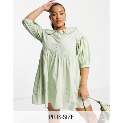 インフルエンス Influence Plus レディース ワンピース ワンピース・ドレス collared mini dress with button down front in sage green セージグリーン