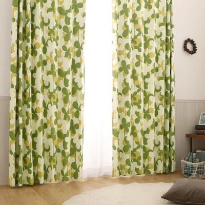 1cm刻み カーテン  おしゃれ 送料無料 緑 安い遮光カーテン 北欧 クローバー グリーン 1.5倍ヒダ(2つ山)